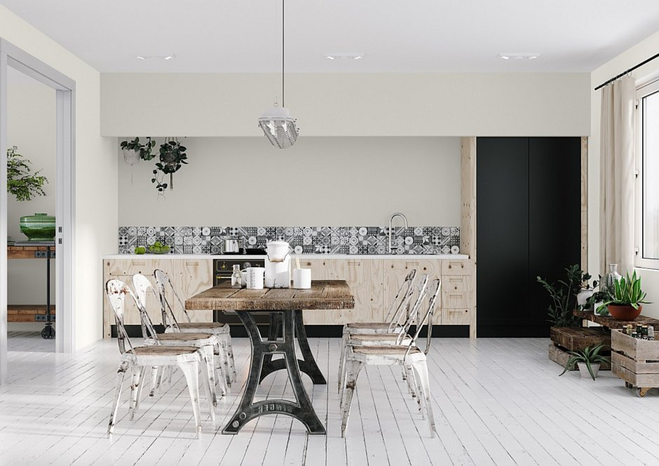 Śnieżka biały sufit w kuchni